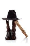inicjuje kowbojskiego kapeluszu lasso biel obraz royalty free