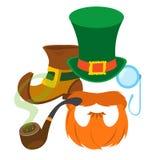 Inicjuje leprechaun, czerwona broda, drymba, gniewający kapelusz, monocle Zdjęcia Royalty Free