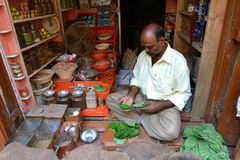 Inidan Man Sells Leaf Stock Photography