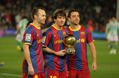 Iniesta, Messi e Xavi de Barcelona Imagem de Stock Royalty Free