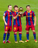 Iniesta, Messi and Xavi with Golden Ball Royalty Free Stock Images