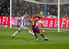 Iniesta shooting a goal Royalty Free Stock Photos
