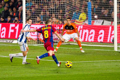 Iniesta shooting a goal Royalty Free Stock Photography