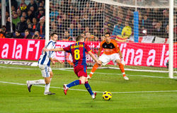 Iniesta shooting a goal Stock Image