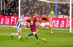 Iniesta shooting a goal stock image