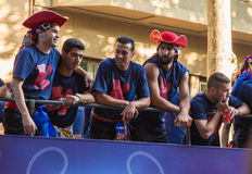 Iniesta, Suarez, Pedro, de drievoudige viering van Jordi Alba Barça Royalty-vrije Stock Afbeeldingen