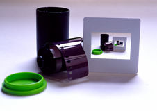 Inifinity. A slide, film, and canister that forms a a never ending scene within the slide Stock Photography
