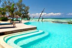 Inifinity pool view. Lounge near inifinity pool, Zanzibar Stock Photography