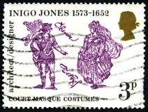 Inigo Jones UK Postage Stamp. GREAT BRITAIN - CIRCA 1973: A used postage stamp from the UK, celebrating the life of architect and designer Inigo Jones, circa Royalty Free Stock Images