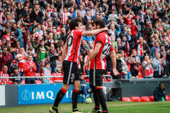 Inigo Lekue and Raul Garcia. BILBAO, SPAIN - ARPIL 3: Inigo Lekue and Raul Garcia celebrate the goal in the match between Athletic Bilbao and Granada, celebrated Royalty Free Stock Photo