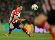Inigo Perez of Athletic Bilbao. In action during the Spanish league match against FC Barcelona at the Camp Nou stadium on March 31, 2012 in Barcelona, Spain Stock Photos