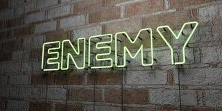 INIMIGO - Sinal de néon de incandescência na parede da alvenaria - 3D rendeu a ilustração conservada em estoque livre dos direito ilustração royalty free