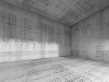 InInterior of empty room with concrete walls, 3d. Abstract interior of an empty room with rough concrete walls. 3d render illustration Stock Photos