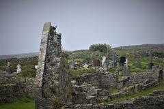 The `Seven Churches` On The Island Of Inis Mor stock photo