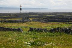 Inis Oirr Inisheer Lighthouse on Aran Islands in Ireland. Inis Oirr Inisheer Lighthouse and stone fences on Aran Islands in Ireland Royalty Free Stock Image