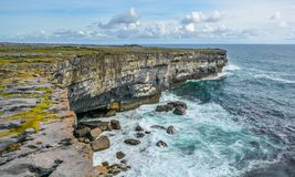 Scenic cliffs of Inishmore, Aran Islands, Ireland. Inishmore, Aran Islands, Galway Bay, Ireland Royalty Free Stock Images