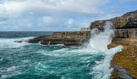 Scenic cliffs of Inishmore, Aran Islands, Ireland. Inishmore, Aran Islands, Galway Bay, Ireland Royalty Free Stock Photos