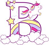 Initial b with cute unicorn and rainbow. Can be used for baby birth announcements, nursery decoration, party theme or birthday invitation. Design for baby and royalty free illustration