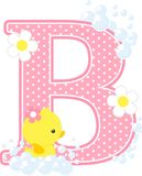 Initial b with flowers and cute rubber duck. Isolated on white. can be used for baby girl birth announcements, nursery decoration, party theme or birthday Royalty Free Stock Photos