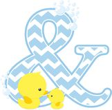 Initial & with cute baby rubber duck. Initial & with bubbles and little baby rubber duck isolated on white background. can be used for baby boy birth Stock Images