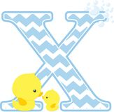 Initial x with cute baby rubber duck. Initial x with bubbles and little baby rubber duck isolated on white background. can be used for baby boy birth Stock Photos