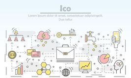 Initial coin offering concept vector flat line art illustration. ICO initial coin offering concept vector illustration. Modern thin line art flat style design Stock Photography
