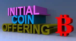 Initial coin offering. Heading on blue background stock illustration