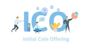 Initial Coin Offering, ICO. Concept with computer user, letters and icons. Flat vector illustration on white background. Initial Coin Offering, ICO. Concept royalty free illustration