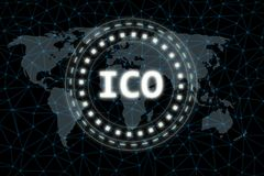 Initial Coin Offering ICO sign glowing led with ray light on abstract world map network hexagon background. For crypto currency, token promotion, or stock illustration