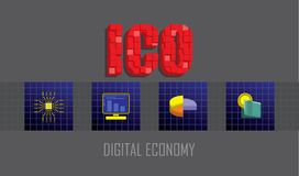 Initial Coin Offering. ICO text emblem with 3d mosaic effect. Icons of micro chip, computer, pie chart and wallet. Marketing and Digital economy investment Stock Image