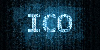 Initial Coin Offering ICO text written in binary format on abstract wired network connection over world map background. For crypto currency, new token vector illustration