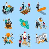 Initial Coin Offering Isometric Icons. With mining of cryptocurrency, blockchain, startup on blue background isolated vector illustration Stock Images