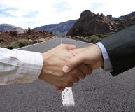 Initial deal. Global success in the road stock images