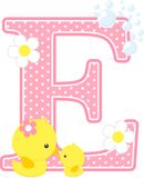 Initial e with cute baby rubber duck and mom. Initial e with bubbles and cute rubber duck isolated on white. can be used for baby girl birth announcements Stock Photography
