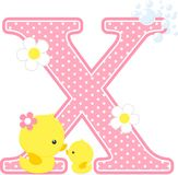 Initial x with flowers and cute rubber duck. Initial x with flowers and cute baby duck and mom isolated on white. can be used for baby girl birth announcements Stock Images