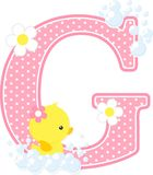 Initial g with flowers and cute rubber duck. Initial g with bubbles and cute rubber duck isolated on white. can be used for baby girl birth announcements Royalty Free Stock Photos