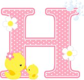 Initial h with baby duck and mom. Initial h with flowers and cute rubber duck isolated on white. can be used for baby girl birth announcements, nursery Stock Photo