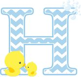 Initial h with cute baby rubber duck. Initial h with bubbles and little baby rubber duck isolated on white background. can be used for baby boy birth Stock Photography
