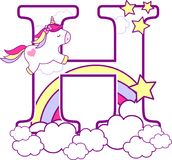 Initial h with cute unicorn and rainbow. Can be used for baby birth announcements, nursery decoration, party theme or birthday invitation. Design for baby and vector illustration