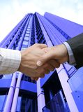 Initial handshake. In the city royalty free stock images