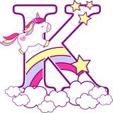 Initial k with cute unicorn and rainbow. Can be used for baby birth announcements, nursery decoration, party theme or birthday invitation. Design for baby and royalty free illustration