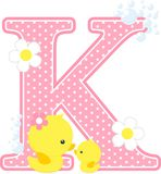 Initial k with flowers and cute rubber duck. Initial k with bubbles and cute baby duck and mother isolated on white. can be used for baby girl birth Stock Image