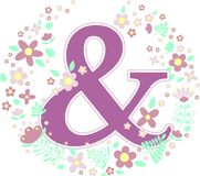Initial letter ampersand with decorative flowers. And design elements isolated on white background. can be used for nursery decoration, spring themes or wedding vector illustration