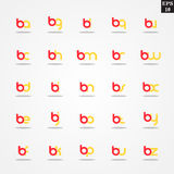 Initial letter B compilation from A to Z lowercase logo design template colorful. Logo template initial letter idea for brand company name Stock Photos