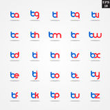 Initial letter B compilation from A to Z lowercase logo design template colorful. Logo template initial letter idea for brand company name Royalty Free Stock Images