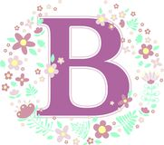 Initial letter b with decorative flowers. And design elements isolated on white background. can be used for baby name, nursery decoration, spring themes or stock illustration