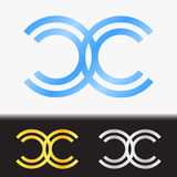 Initial letter CC premium blue metallic rotated lowercase logo template in white background, and custom preview in gold and silver. Initial letter alphabetic royalty free illustration