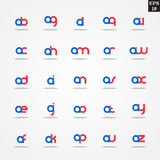 Initial letter A compilation from A to Z lowercase logo design template colorful. Logo template initial letter idea for brand company name Royalty Free Stock Image