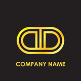 Initial letter DD elegant gold reflected lowercase logo template in black background Stock Photos