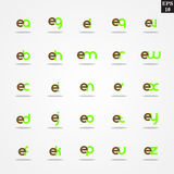 Initial letter E compilation from A to Z lowercase logo design template colorful. Logo template initial letter idea for brand company name Royalty Free Stock Photography